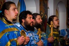 Vigile orthodoxe à l'église de la mère de Dieu Photos libres de droits