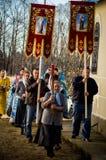 Vigile orthodoxe à l'église de la mère de la joie de Dieu de tous ce que peine dans le secteur d'Iznoskovsky de la région de Kalu Images stock