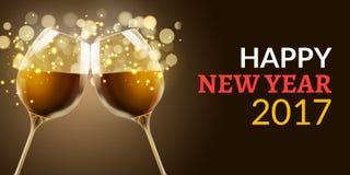Vigilia 2017 del nuovo anno Un'illustrazione di festa di due vetri di vino Celebrazione di lusso della bevanda del nuovo anno Dec royalty illustrazione gratis