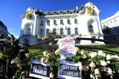 Vigilia para las víctimas del ataque terrorista islámico en París Imagen de archivo libre de regalías