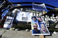 Vigilia para las víctimas del ataque terrorista islámico en París Foto de archivo libre de regalías