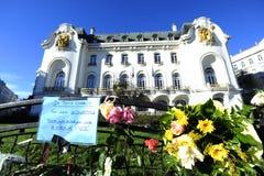 Vigilia para las víctimas del ataque terrorista islámico en París Fotografía de archivo libre de regalías