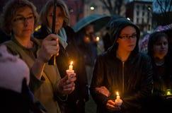 Vigilia para las víctimas del tiroteo de Newtown. fotografía de archivo libre de regalías