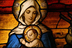 Vigin Mary with baby Jesus stock photo