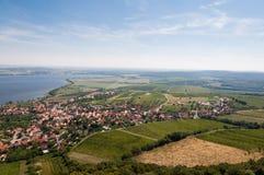 Vigna vicino al piccoli villaggio, cielo blu, agricoltura e vino Osservi da sopra Fotografia Stock Libera da Diritti