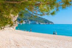 Vignanotica,普利亚,意大利, 2017年5月31日 Vignanotica海滩, i 免版税库存图片
