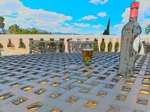 Vigne de bière et de la bouteille o en été images stock