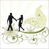 Vigne de feuillage et couples romantiques Image stock