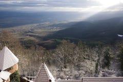 Vignes en hiver Belle vue de primevère farineuse d'Alsace photo stock