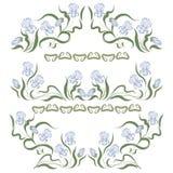 Vignet met blauwe irissen Royalty-vrije Stock Afbeeldingen