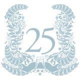 Vignet met 25ste verjaardag Royalty-vrije Stock Afbeelding