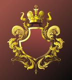 Vignette. Red-brown background with floral vignette crown and ribbon Royalty Free Stock Photography