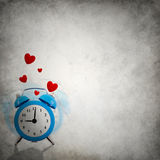 Vignette background with love ringing clock and hearts Royalty Free Stock Photography