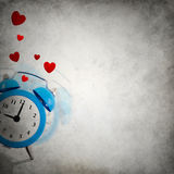 Vignette background with ringing clock playing hide and seek Stock Image