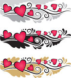 Vignette or banners with hearts Royalty Free Stock Photos