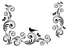 Vignette with birds and flowers Royalty Free Stock Images