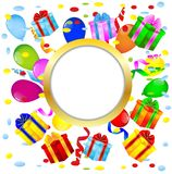 Vignette with bright gift boxes and air marbles Royalty Free Stock Image