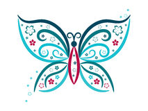 Vignette butterfly with flowers in blue and pink colours,. Butterfly silhouette with flowers in blue and pink colours stock illustration