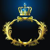 Vignette and crown. Black background with gold vignette and crown Stock Photo