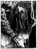 Vignette décorative typographique d'art déco avec la scène d'exploration de caverne : aventure et mystère pendant la nuit étoilée illustration stock