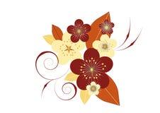 Vignette des fleurs et des lames Photos stock