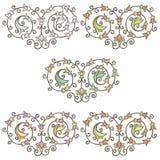 Vignette florale tirée par la main décorative de vintage de vecteur Photographie stock