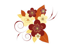 Vignette of flowers and leaves. Composition of stylized flowers and leaves in beige and brown on a white background Stock Photos