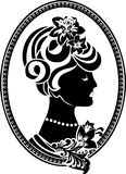 Vignette medallion with female profile Royalty Free Stock Images