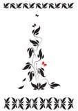 Vignette mit Blumenmuster und Schmetterlingen Stockfotografie