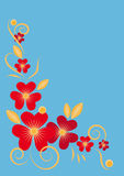 Vignette with red flowers. Red flowers on a blue background Stock Photography