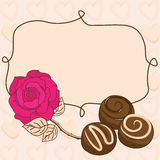 Vignette with rose and chocolate Stock Image