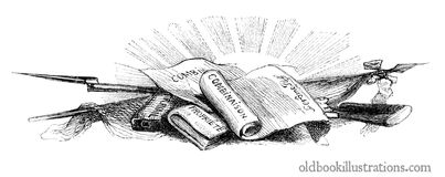Vignette with Scrolls and Books Stock Image