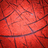Vignette style red color cracked paint texture Royalty Free Stock Photography