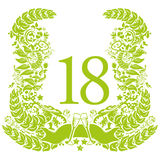 Vignette for the 18th anniversary and birthday Royalty Free Stock Photos
