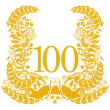 Vignette for the 100th anniversary. And party Royalty Free Stock Photos