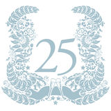 Vignette with 25th anniversary. In silver Royalty Free Stock Image