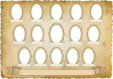 Vignette. Vintage background with fifteen frames for pictures - transparent space insert Stock Photography