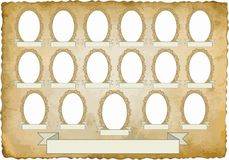 Vignette. Vintage background with nineteen frames for pictures - transparent space insert Stock Photos