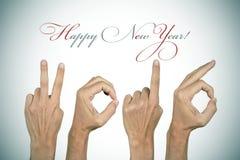 Vignetted het tekst gelukkige nieuwe jaar 2016, Stock Afbeelding