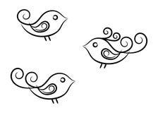 Vignettenvögel eingestellt Lizenzfreies Stockbild