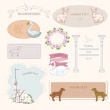 Vignettes. And oval frames with different theme royalty free illustration