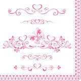 Vignettes roses décoratives réglées de vecteur avec des coeurs, frontière de vintage illustration libre de droits