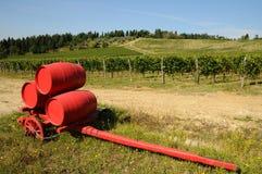 Vignoble dans le chianti et le vieux chariot rouge avec des barils de vin, région de la Toscane image libre de droits