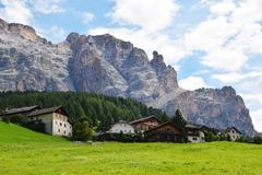 Vigo di Cadore and Dolomiti mountains royalty free stock photo