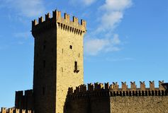 Vigoleno Castle. Consitutes a fortified complex of great interest which has maintained almost intact its original character. The castle and hamlet are to be Royalty Free Stock Photo