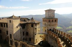 Vigoleno Castle in Northern Italy. Vigoleno castle consitutes a fortified complex of great interest which has maintained almost intact its original character Stock Photography