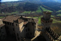 Vigoleno Castle in Northern Italy. Vigoleno castle consitutes a fortified complex of great interest which has maintained almost intact its original character Stock Image