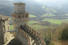 Vigoleno Castle in Northern Italy. Vigoleno castle consitutes a fortified complex of great interest which has maintained almost intact its original character Stock Photo