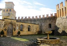 Vigoleno Castle in Northern Italy. Vigoleno castle consitutes a fortified complex of great interest which has maintained almost intact its original character Royalty Free Stock Photos