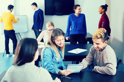Vigorous classmates having animated talks at break between class Royalty Free Stock Image